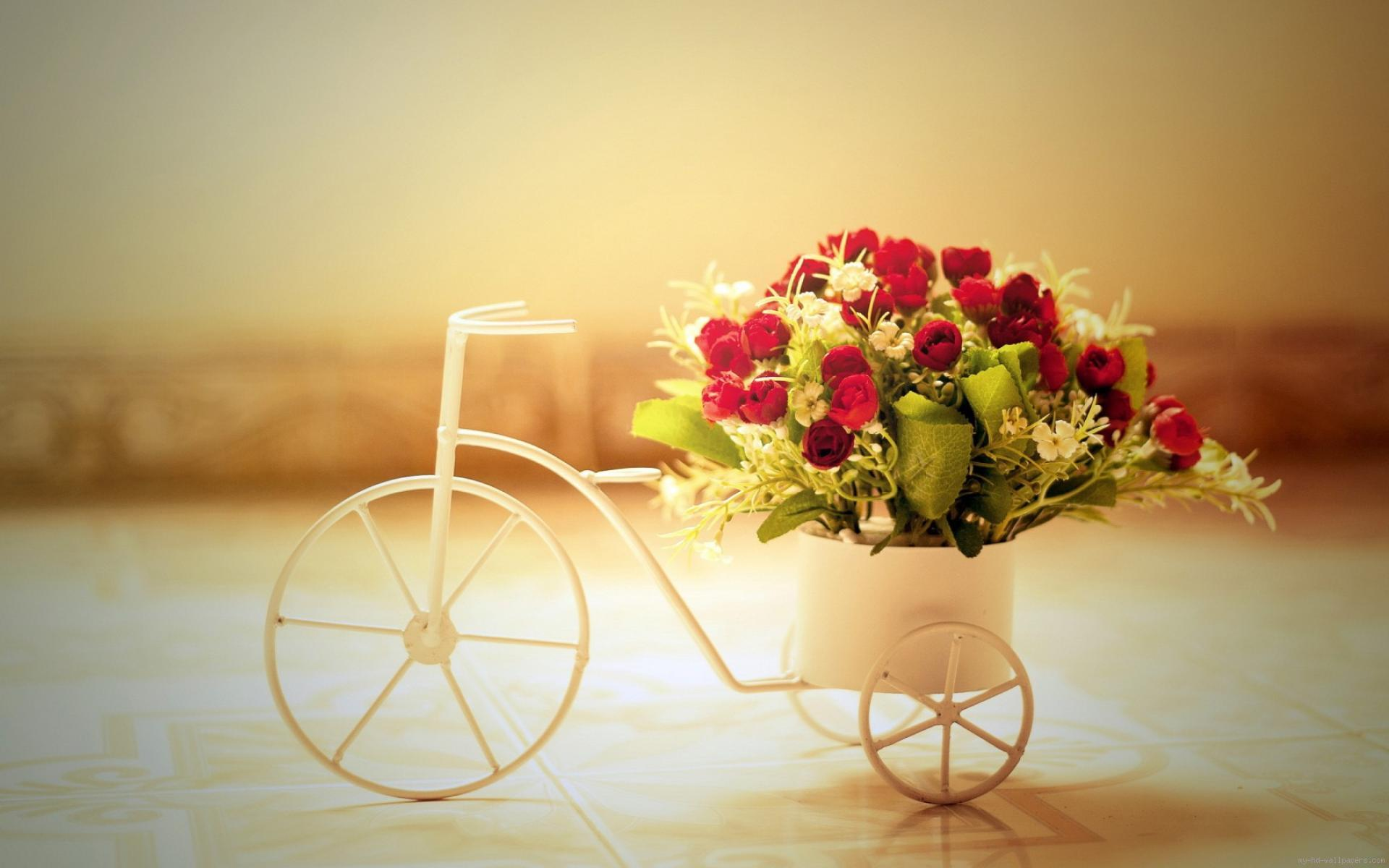 bouquet-of-red-roses-in-a-vase-bike-1080P-wallpaper